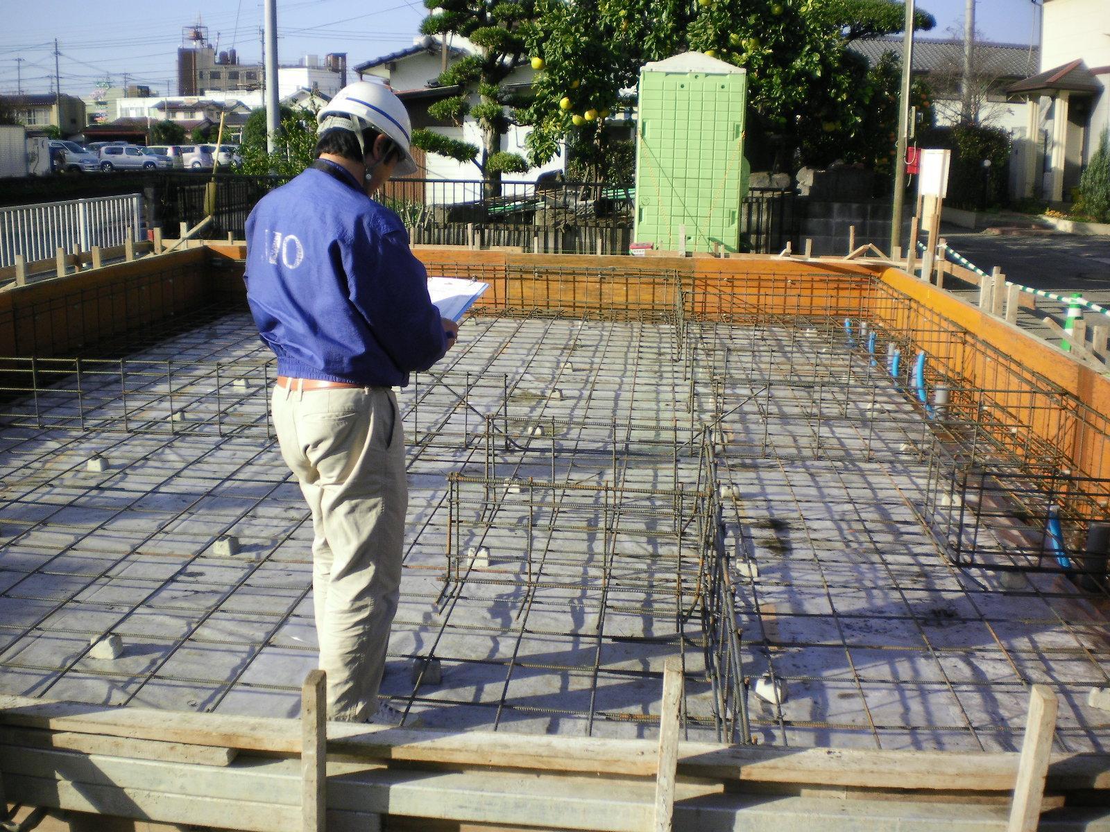 基礎工事 JIOの配筋検査の状況